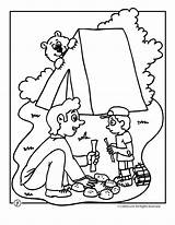 Camping Coloring Pages Camp Bear Summer Activities Crafts Fun Printable Preschool Theme Sheets Woojr Printables Worksheets Camps Cub Scout Colors sketch template