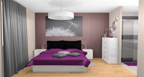 chambre grise et prune décoration chambre prune et gris