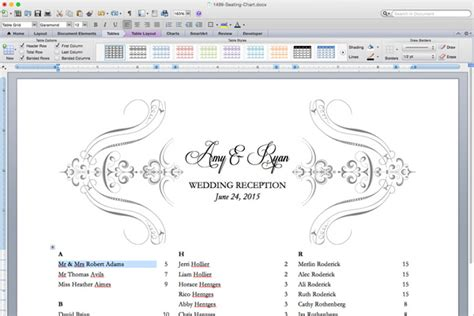 seating chart template word free printable wedding reception templates the budget savvy