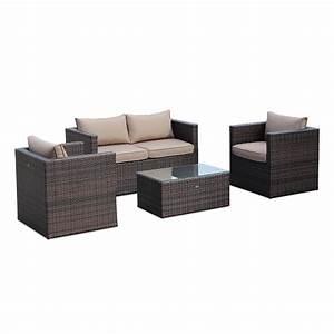 salon de jardin anzio en resine tressee et structure With meubles de jardin en resine tressee