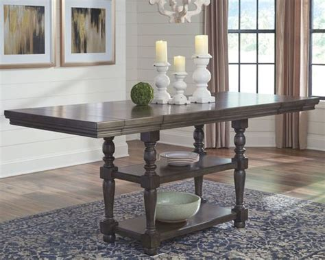 audberry dark gray rectangular dining room counter ext table managhans furniture