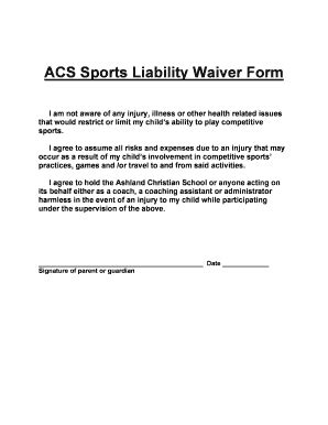printable injury liability waiver forms  templates