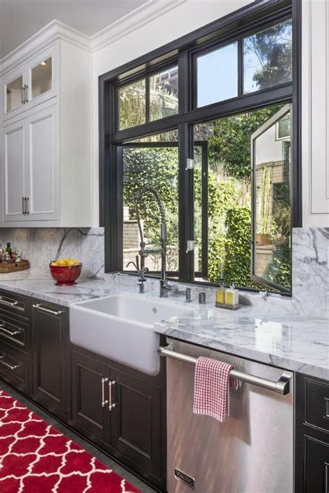 painted black window trim farmhouse style kitchen