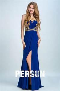 robe de soiree bleu fendue a haut brode de sequins persunfr With robe bleu or