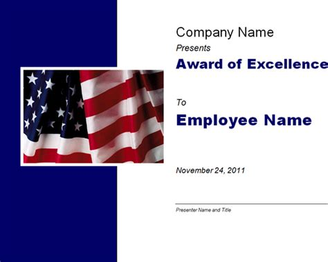 excellence award   flag template