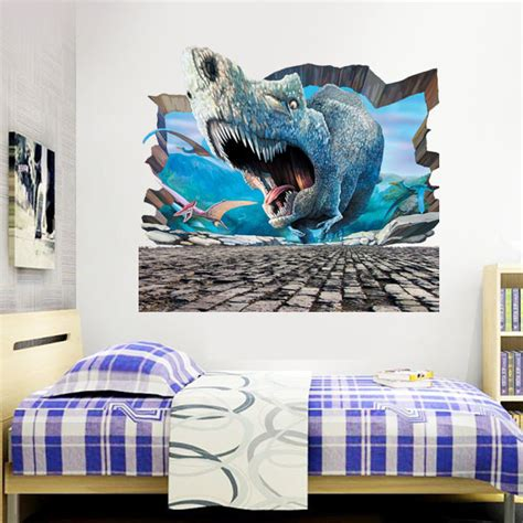 3d jurassic park dinosaurs wall stickers for rooms boy decoration mural decals