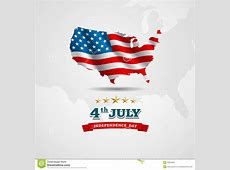 American Flag Map For Independence Day Stock Vector