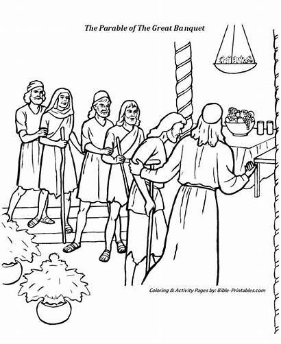 Coloring Parable Banquet Jesus Bible Pages Parables