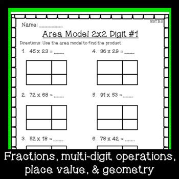 grade math worksheet bundle fractions place