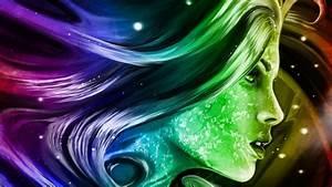 rainbow, girl, 3d, fantasy, abstract, art, digital, hd, wallpapers