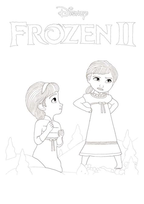 frozen  young anna  elsa coloring page print   frozen ii coloring pictures