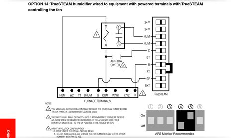 how do i wire a honeywell truesteam unit to a comfortmaker 2 stage furance with a observer