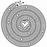 Coloring Spiral Mandala Printable Pages Heart M100 Hearts Print Unique sketch template