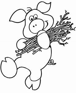 The Three Little Pigs Coloring Page | Pig Carrying Sticks ...