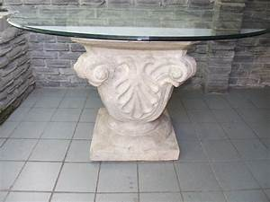 Fantastic Carving Stone Base For Round Glass Top Dining