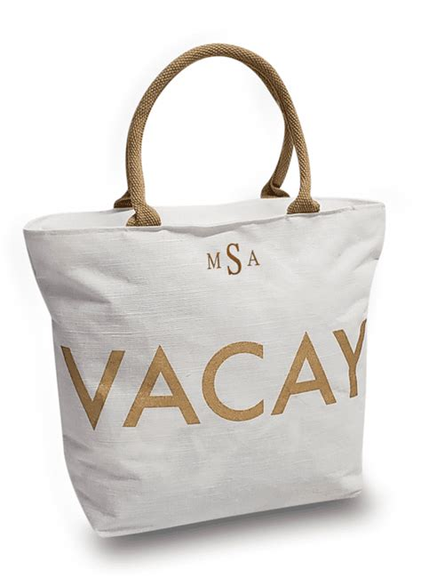 jute vacay travel bag personalized
