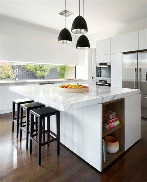 cuisine blanche avec ilot central couleur cuisine la cuisine blanche de style contemporain