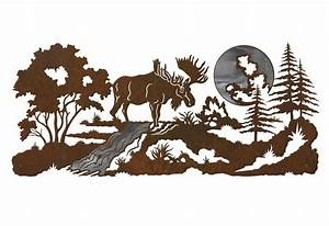 """57"""" Moose in the Forest Burnished Metal Wall Art"""