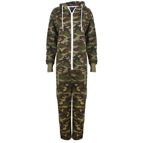 new childrens camo fleece hooded army green jumpsuit all