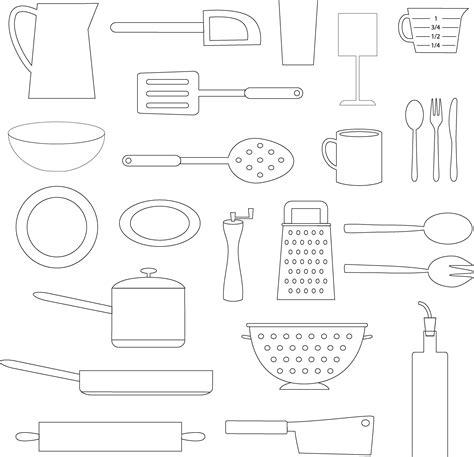 black outline kitchen cooking objects   vectors clipart graphics vector art