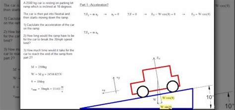 calculate  acceleration   car  inclined
