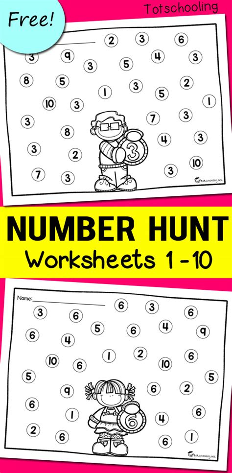 Hunt For Preschool Number 1 Worksheets Hunt Best Free Printable Worksheets