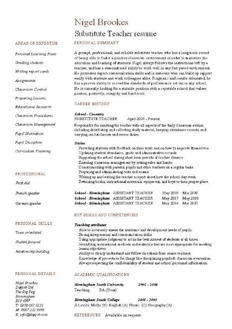 School Teacher Resume Format