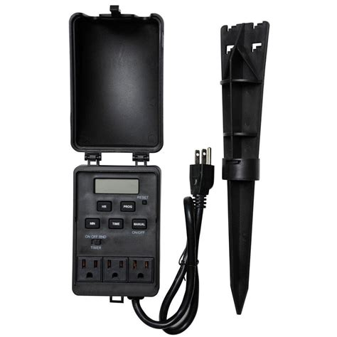 outdoor digital timer electrical outlet security power control light wall mount 691200240886 ebay