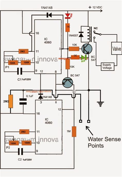 Water Sensor Triggers Sequential Timer Circuit Which