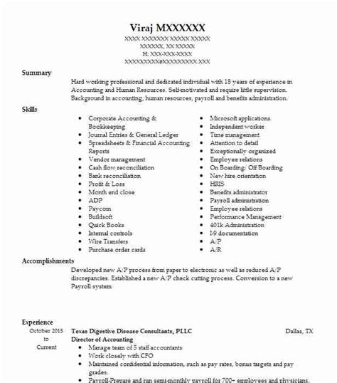 Director Of Accounting Resume Talktomartyb