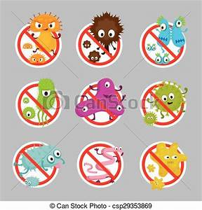 Clip Art Vector of Cute Germ Characters Prohibition Sign ...