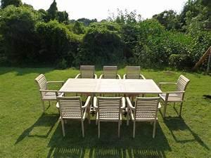 Salon Jardin Teck : salon de jardin en teck amara 8 fauteuils empilables c l jardin ~ Teatrodelosmanantiales.com Idées de Décoration