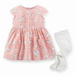 Carters Newborn 9 12 Months Twill Dress & Tights Set Baby ...