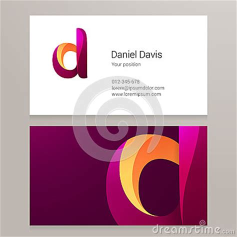 modern letter  twisted business card template stock