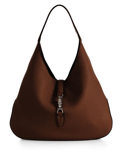 gucci jackie soft leather hobo bag  brown lyst