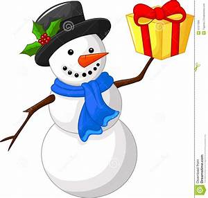 Cute Cartoon Snowman With Gift Stock Vector - Image: 47317083