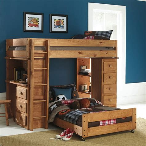 bed with built in desk kids room wooden t shaped bunk bed features desk with