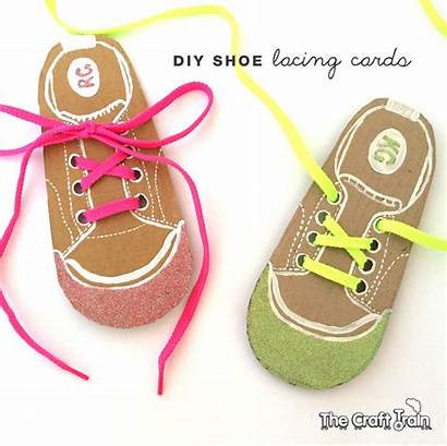 Shoe Lacing Cards Diy Tie Children Learn