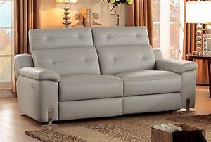 Homelegance vortex top grain grey leather power reclining sofa for Grey leather sectional sofa with recliners