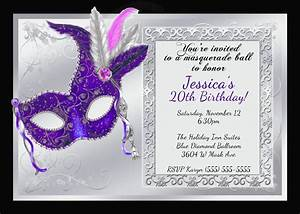 Mardi gras and masquerade birthday invitations kustom kreations for Masquerade birthday invitations