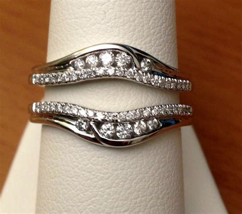 solitaire enhancer diamonds ring guard wrap 14k white gold wedding band ebay