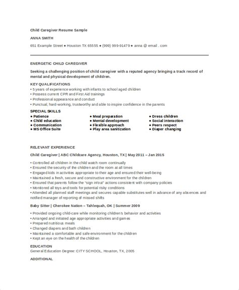 Caregiver Description For Resume Exle by Caregiver Resume Exle 7 Free Word Pdf Documents
