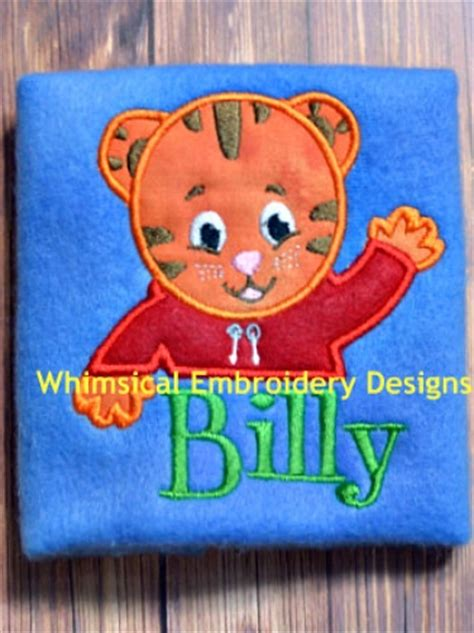 daniel tiger applique machine embroidery design instant  handmadeology market