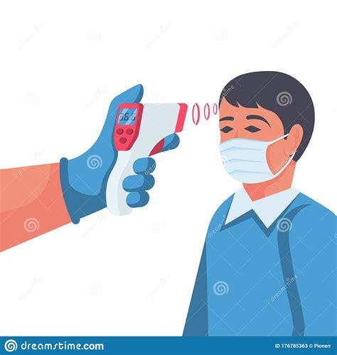 Temperature Check. Doctor Holding A Non-contact ...