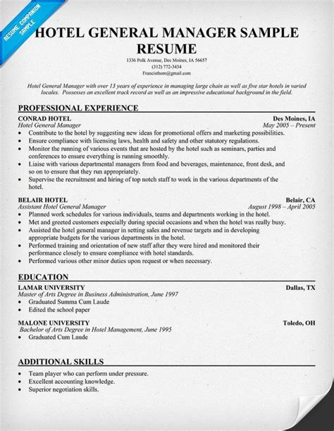 Sle Resume Format For Hotel Industry by Hotel General Manager Resume Resumecompanion