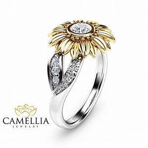 unique engagement ring natural diamond 14k gold ring With sunflower wedding ring