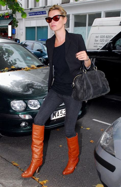 moodboard    day kate moss  cognac boots