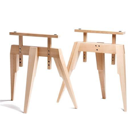 treteaux bureau tréteau bois tréteaux design pied compas en bois naturel scp