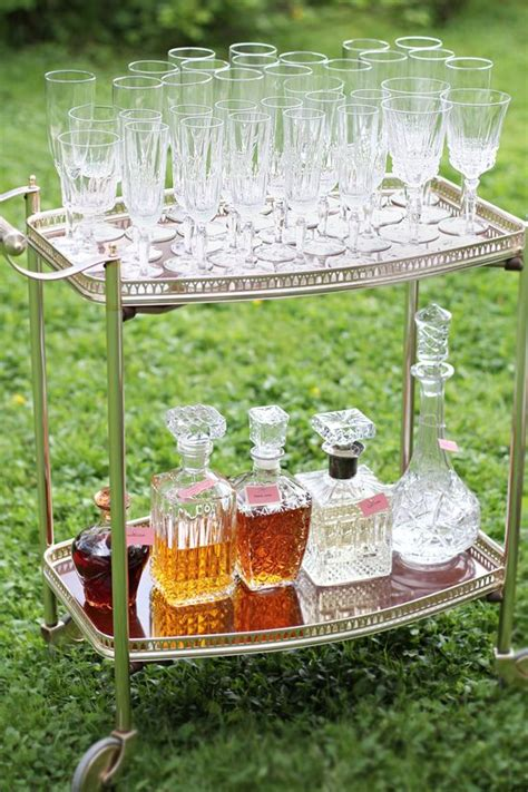 Outdoor Cocktail Party  Decor Barbar Cart Love