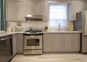 Small kitchen with gray cabinets and shiny brass hardware for What kind of paint to use on kitchen cabinets for small mirrors wall art